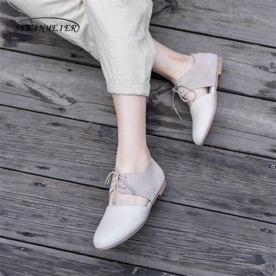 Ayakk.'ten Kadın Topuksuz Ayakkabı'de Kadın kare ayak düz loafer'lar ayakkabı el yapımı gri bej vintage Retro deri rahat toka rahat mokasen oxford ayakkabı'da  Grup 1