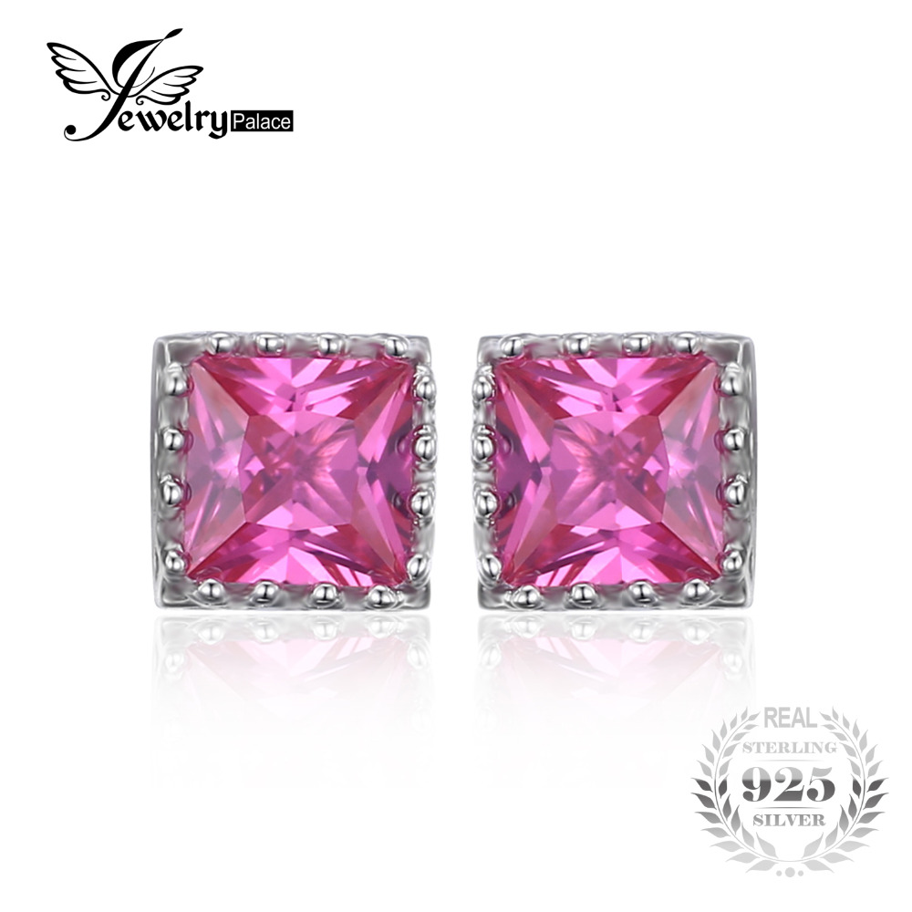 Jewelrypalace Square 16ct Created Pink Sapphire Solitaire Stud Earrings  925 Sterling Silver Fine Jewelry Women