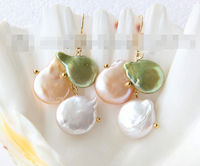 FREE SHIPPING>>> free shipping 12320 baroque white pink green coin pearl dangle earrings
