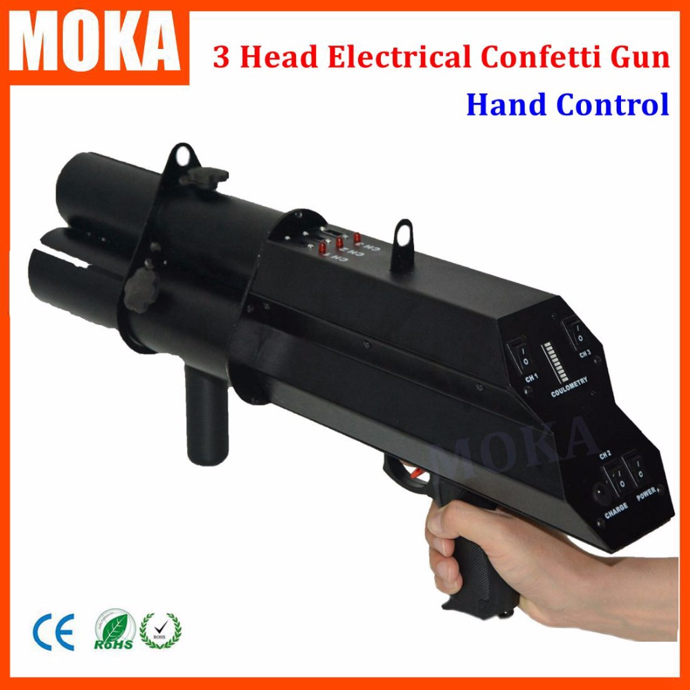 1 Pcs/lot 3 Shot FX Confetti Gun Confetti Blower Hand Control DMX 3 Channels Stage Confetti Machine For Wedding Decoration