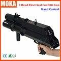 1 adet/grup 3 atış FX konfeti tabancası konfeti blower el kontrol DMX 3 kanal sahne konfeti makinesi için düğün dekorasyon