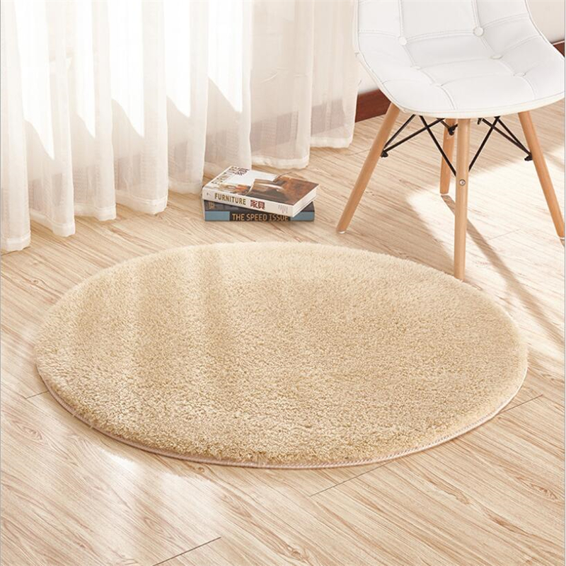 Shaggy Soft Round Carpets For Living Room Bedroom Kid Room Rugs Home Carpet Floor Door Mat Simple Thicker Decotate Area Rug Mats