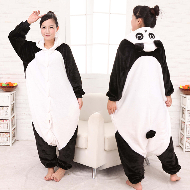 Flanela dos desenhos animados Kung Fu Panda pijamas animal amantes bodysuit sleepwear masculino mulheres salão