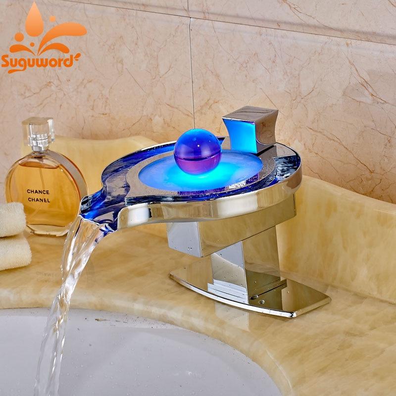 Creative Design Deck Mount Brass Chrome Finish Basin Faucet Warterfall LED Light Spout Mixer Tap