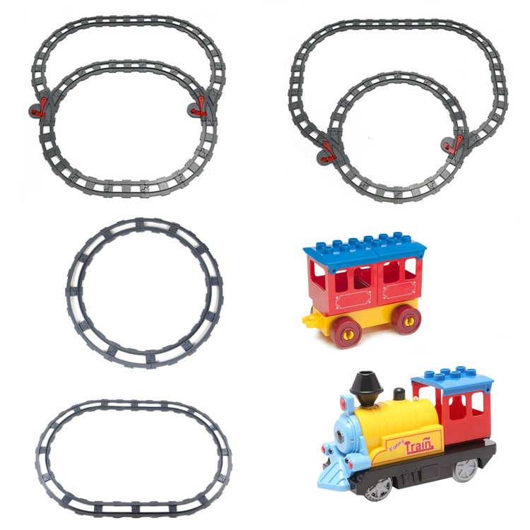 Train track transport carriage Car Vehicle Set Bricks Big Particles Building Blocks accessory DIY Gift Toy Compatible with Duplo