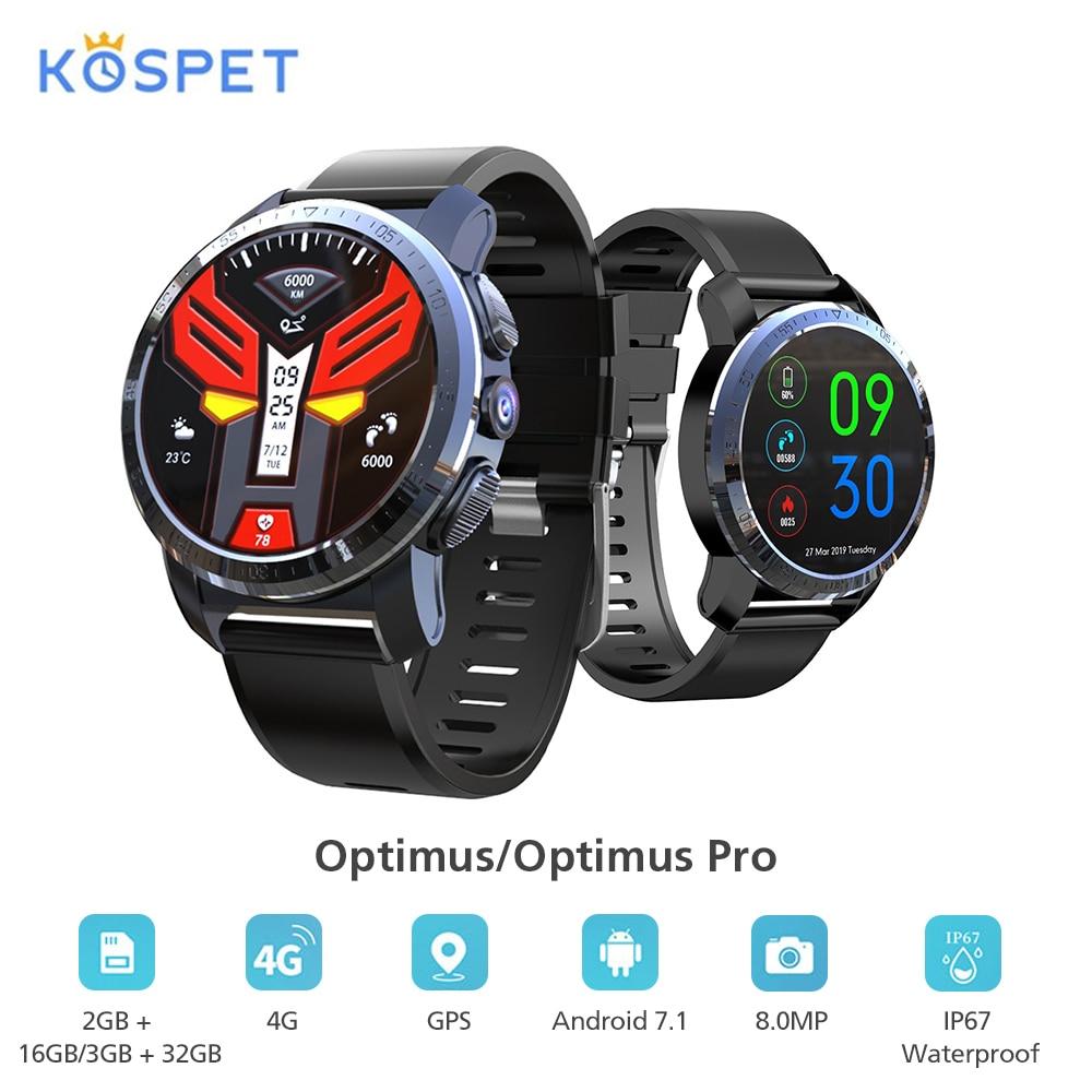 Kospet Optimus/Optimus Pro Smartwatch телефон с gps двойной системой 4G WiFi Android7.1.1 8.0MP камера 2 Гб 16 Гб/3 ГБ 32 ГБ Смарт часы