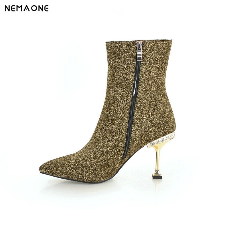 NEMAONE New high heels women boots shiny bling winter ladies ankle boots party dress wedding dancing shoes woman big size 42 43 цена