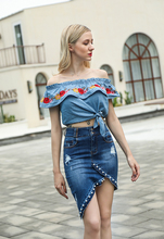 VZFF 2019 Europe And The United States New Irregular Beaded Pearl Bag Hip Jeans Skirt