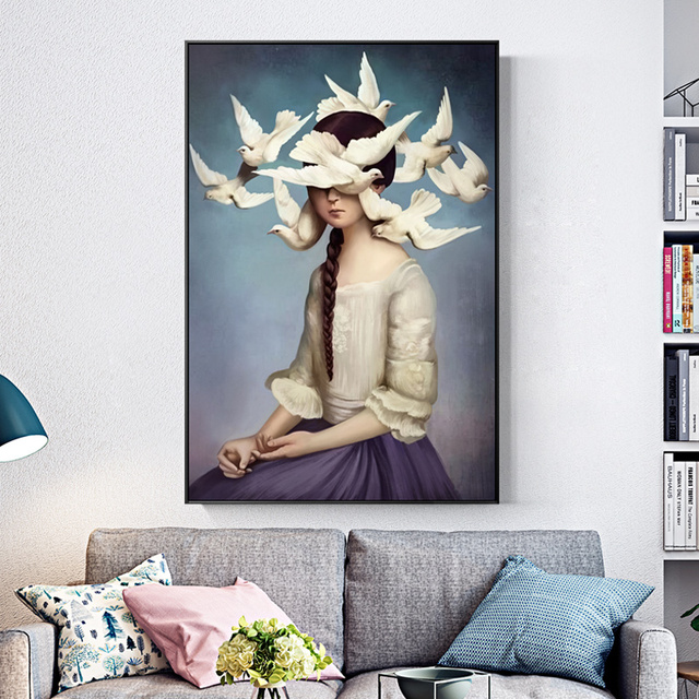 Modern Peace Dove Sky Holy Face Canvas Painting