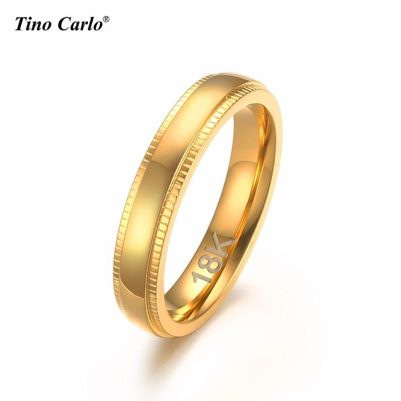 Tino Carlo 4MM Polishing Golden Stainless Steel Women Rings Embossing Teeth Line Elegant Graceful Girl Rings Size 6~11 SF-239