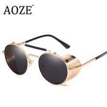 AOZE 2019 Goggles Retro Steampunk Sunglasses Round Designer Steam Punk Metal