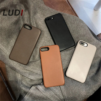 LUDI Haute Qualité Vintage En Cuir Officiel Téléphone Soft Case PU Couverture pour iPhone 7 7 plus Cas De Luxe Rétro Fundas pour 6 6 s Plus