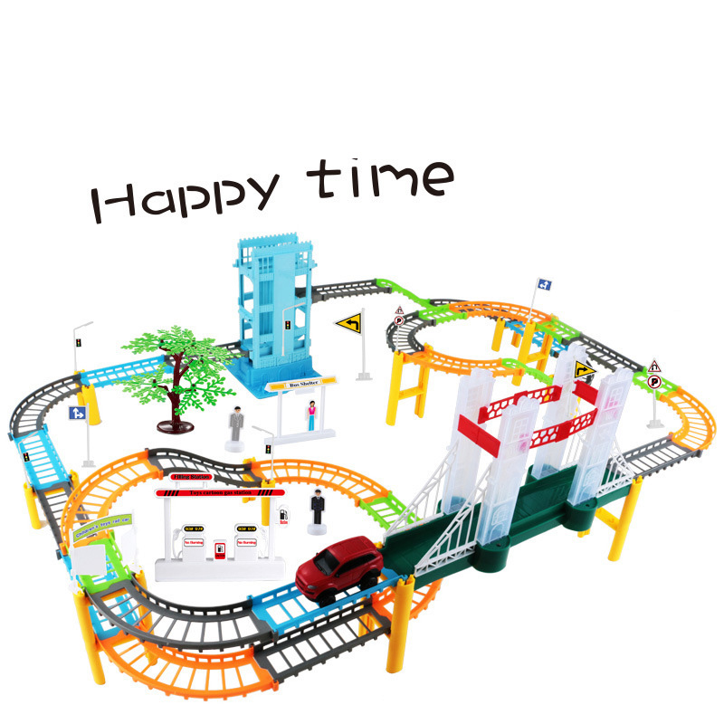 Car Racing Magical Track Simulation City High Speed Rail Electric City Highway Track Race Driving Toys For Children Boys Girls