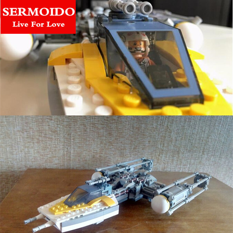 SERMOIDO 691Pcs 05065 Star Series War The Y Model Wing Star Set fighter Building Blocks Bricks Educational Toys Gift 75172 sermoido 02012 774pcs city series deep sea exploration vessel children educational building blocks bricks toys model gift 60095