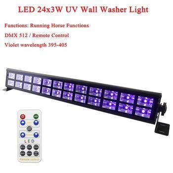 цена на Night Light 24x3W LED Wall Washer LED UV DMX512 Stage Light Bar Black Party DJ Disco Light For Christmas Indoor Stage Lights