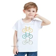 2020 Summer Girls & Boys Short Sleeve T shirt Colorful Bikes Cute Print T-shirt Baby Kids Funny Casual Clothing,HKP5666