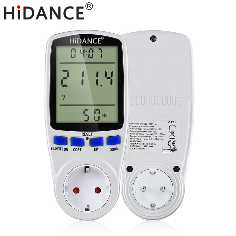 Medidor de voltímetro digital AC amperímetro fuente de alimentación medidor de voltaje detector wattmeter voltímetro medidor de corriente UE UK Analizador de enchufe