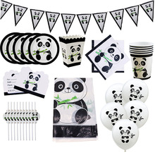 Cartoon Panda Thema Verjaardagsfeestje Decoraties Kids Meisje Wegwerp Servies Set Servetten Cup Plaat Gift Bag Feestartikelen