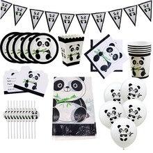 Karikatür Panda Tema Doğum Günü Partisi Süslemeleri Çocuklar Kız Tek Kullanımlık sofra seti Peçete Fincan Tabağı hediye çantası Parti Malzemeleri