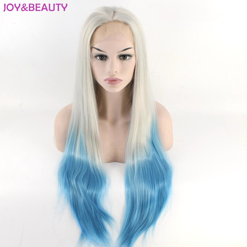 JOY & BEAUTY Silver Ombre Sky blue Cosplay peluca larga recta peluca - Cabello sintético