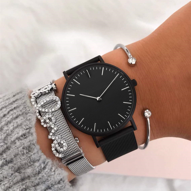 a9362067f61cf US $10.99 |Mavis Hare Silver Mesh Strap XOXO LOVE Story Bracelet Set with  Black Feliz Mesh Wrist Watch and Crystal Cuff Bangle-in Bangles from  Jewelry ...