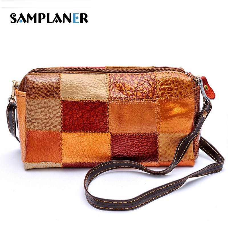Samplaner Genuine Leather Women Clutch Bag Female Patchwork Crossbody Bag Vintage Ladies Messenger Bags Wristlet Clutches Women