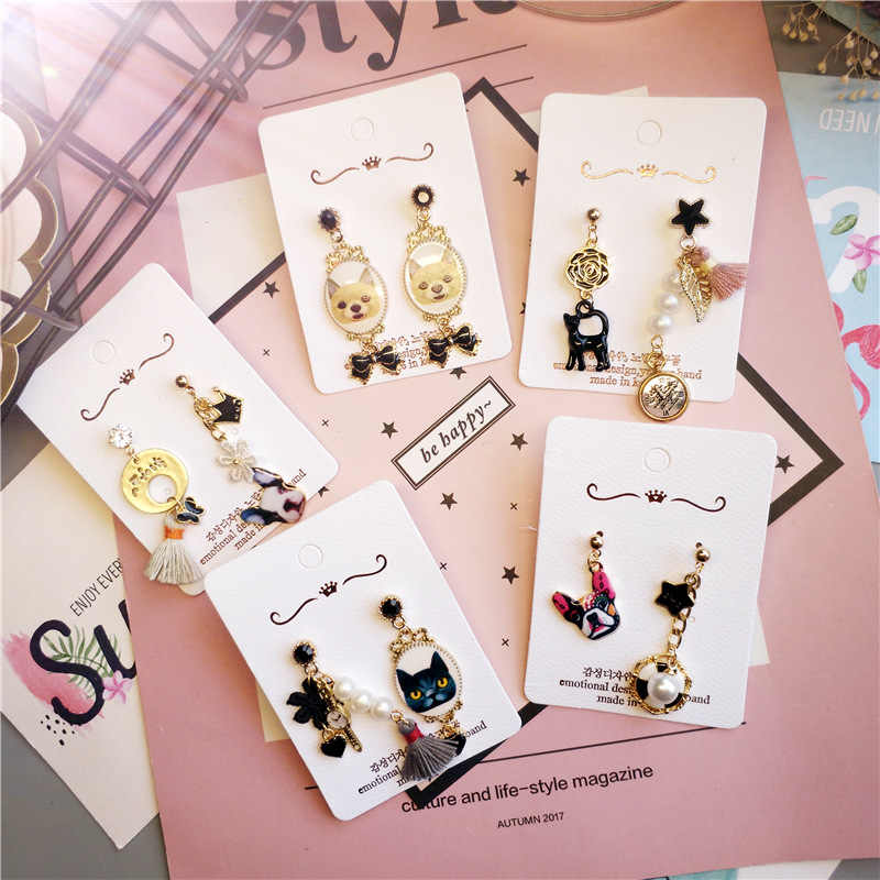 Korea Handmade Asimetris Kartun Kucing Anjing Rumbai Star 2019 Lucu Wanita Menjuntai Drop Anting-Anting Fashion Perhiasan Accessories-JQD5