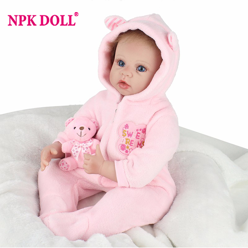 Silicone Reborn Dolls Toys For Children 22'' Handmade Pink Blue Clothes Soft Baby Alive Newborn Reborn For Sale Princess Doll pink wool coat doll clothes with belt for 18 american girl doll