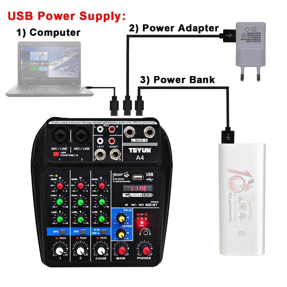 A4 Console de mixage sonore Bluetooth USB enregistrement ordinateur lecture 48V fantôme délai d'alimentation Repaeat effet 4 canaux USB mélangeur Audio - 2