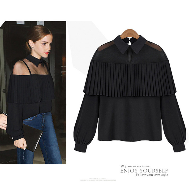 Autumn Long Sleeve Hollow Out Off Shoulder Shirt Cape-style Tops Loose Pleated Women Chiffon Blouse FS0166