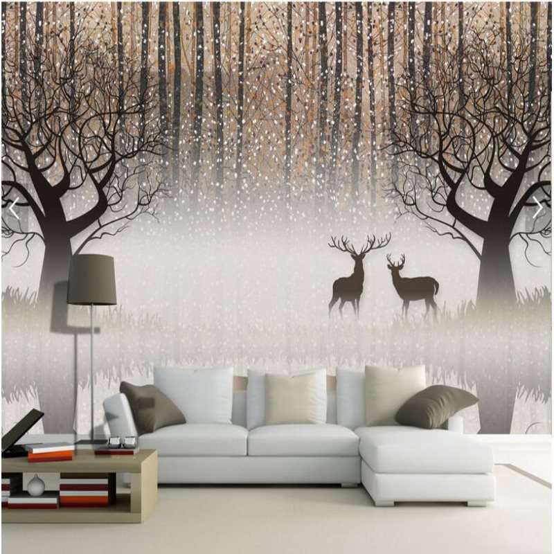 Large mural custom wallpaper Retro nostalgic forest elk 3D TV background wall paper decoration paintingLarge mural custom wallpaper Retro nostalgic forest elk 3D TV background wall paper decoration painting