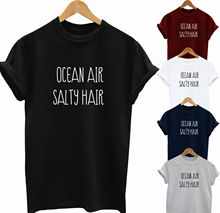OCEAN AIR SALTY HAIR SLOGAN GIFT T SHIRT UNISEX MENS WOMENS HIPSTER TEE Shirt Short Sleeve Men O-Neck Tee free shipping