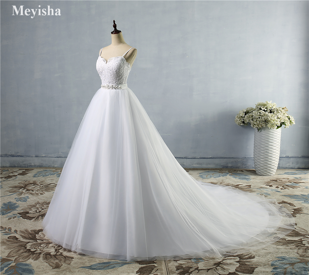 ZJ9046 Beads Crystal White Ivory Wedding Dresses 2019 for brides sweetheart size 2 4 6 8