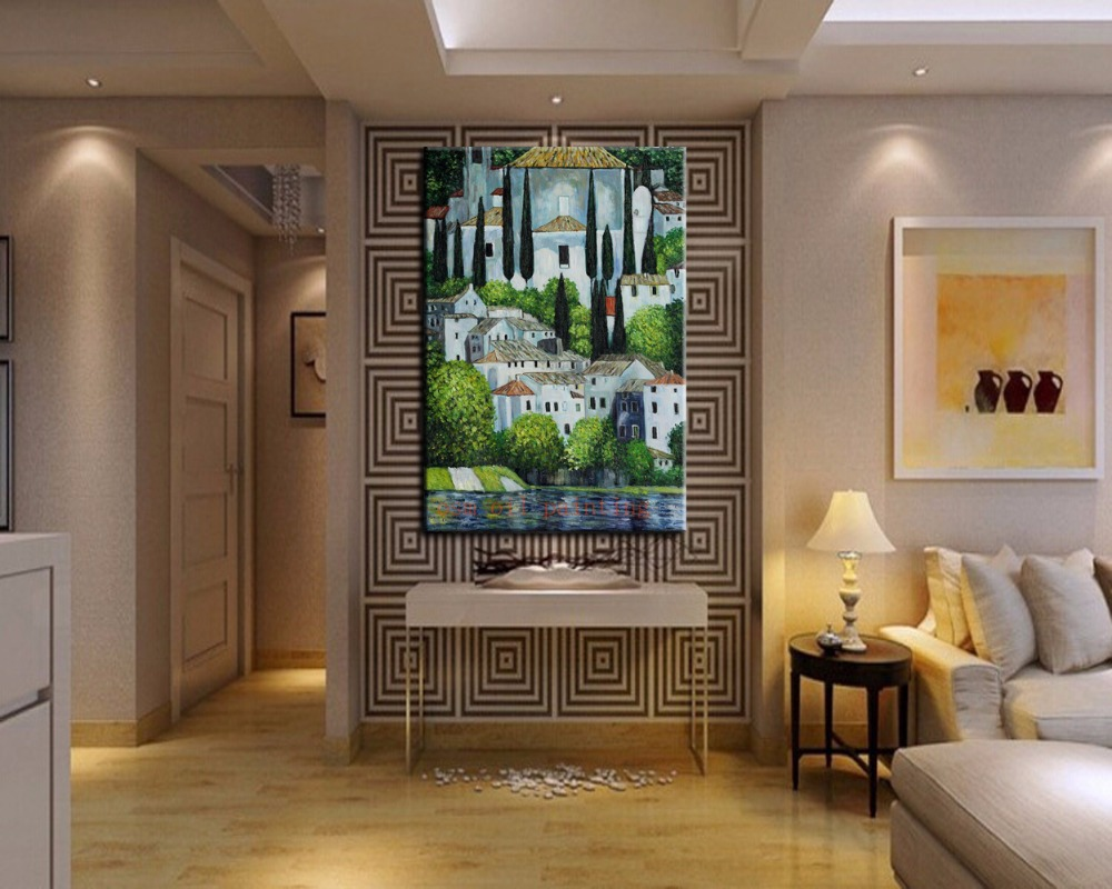 Church Wall Decoration church in landscape with cypress oil painting hang on the wall