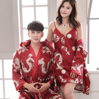 Couple Silk Kimono Robe Bathrobe Women Satin Robe Silk Robes Night Sexy Robes Night Grow Bridesmaid Summer Print Dragon