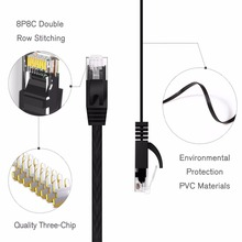 цена на 15cm 25cm 50cm 1m 3ft 2m 3m 5m 10m 15m20m 30m cable CAT6 Flat UTP Ethernet Network Cable RJ45 Patch LAN cable black white colo