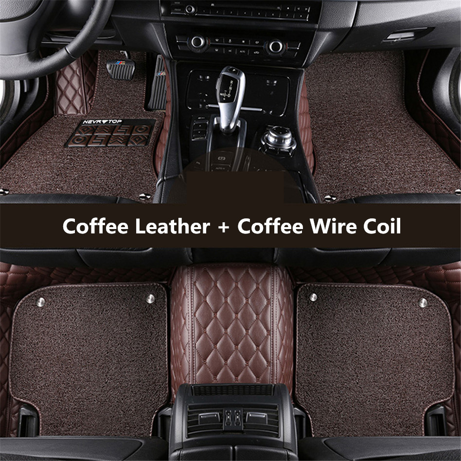 Auto floor mats for toyota prius 2012 2013 2014 2015 foot carpets car step mat high quality embroidery leather wire coil 2 layer in floor mats from