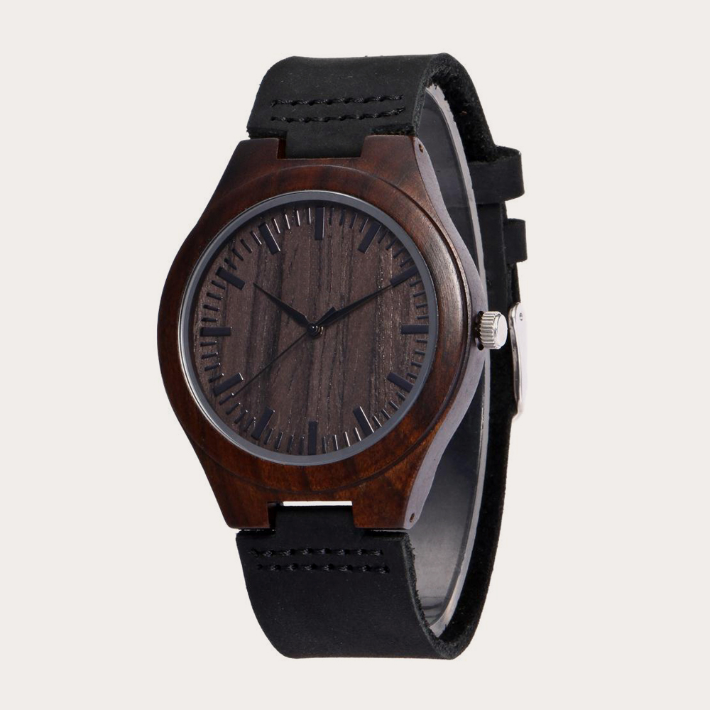 Выгравированные деревянные часы для мужчин бойфренда или жениха для мужчин подарки черный сандалового дерева индивидуальные деревянные ч...