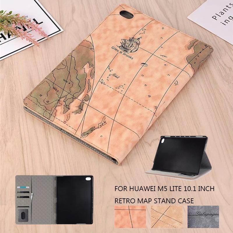 Чехол для Huawei MediaPad M5 Lite 10, чехол с подставкой для Huawei M5 Lite 10,1 дюйма из искусственной кожи с изображением карты мира в стиле ретро, L09, W09, 10, 1, 10|Чехлы для планшетов и электронных книг|   | АлиЭкспресс