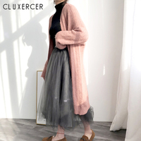 2019 Autumn Winter New Casual Fashion Temperament Women Coat Loose Plus Hollow Long Sleeves Knit Cardigan