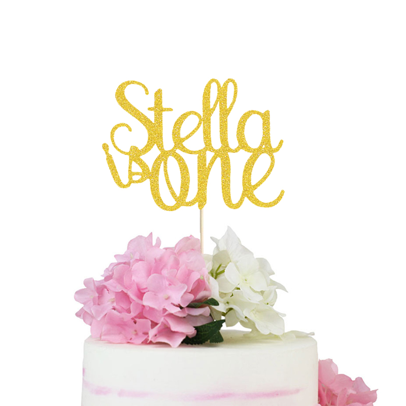 Tremendous 1St Birthday Cake Topper Gold Glitter One Cake Topper First Funny Birthday Cards Online Alyptdamsfinfo
