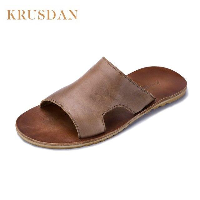 0da68251019 Hombres casual Zapatillas chanclas cuero genuino antideslizante cómoda  ducha playa Sandalias Zapatos verano Flip Flops Zapatos