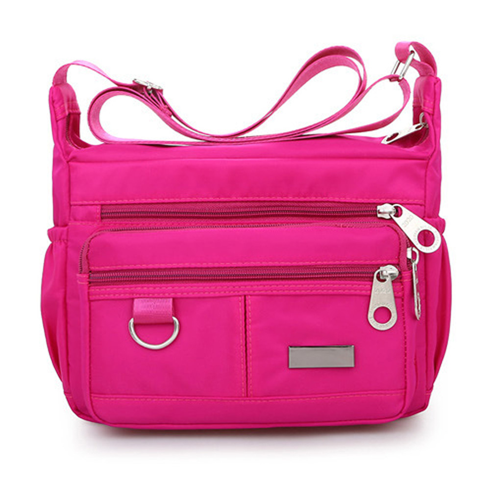 Women Fashion Solid Color Zipper Waterproof Nylon Shoulder Bag  Handbags,Shoulder Bag purple 25cm*19cm*9cm 35