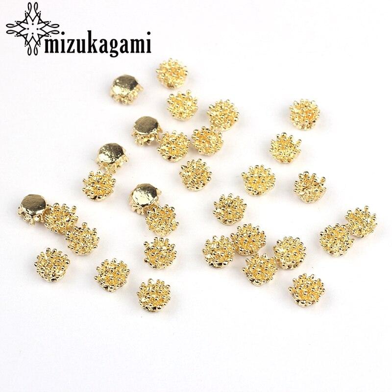 20 יח'\חבילה 6*6 MM אבץ סגסוגת תכשיטי אביזרי עגיל חלקי זהב פרח צורת DIY עבודת יד עגיל ממצאי