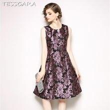 e3a342443 TESSCARA las mujeres verano elegante Jacquard Vestido de Festa mujer Vintage  de alta calidad diseñador de Vestidos de moda de la.