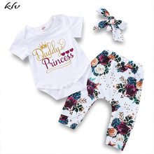 3PCS Summer Newborn Baby Girls Short Sleeve Romper+Floral Pants+Bow Headband Cute Clothes Outfits Sets