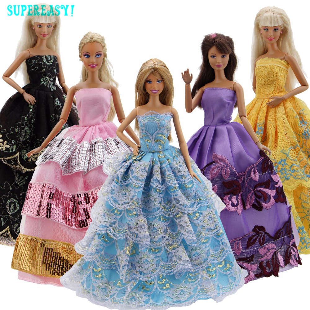 5 Pcs/Lot Excellent Quality Dress Wedding Party Wear Gown Mixed Style Lace Sequin Skirt Clothes For Barbie Doll Accessories Gift new 20 pcs set handmade party 12 clothes fashion mixed style dress 8 pair accessories shoes for barbie doll best gift girl toy