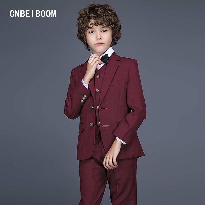 Gentleman Style Boys Suits Dark Red Baby Clothing Sets Kids Best man Wedding Party Boy Clothes Suit 3 Pcs (Jacket+Pants+Vest) top and top children boys clothing sets vest shirt pants 3 pcs set gentleman kids boy party clothes suits