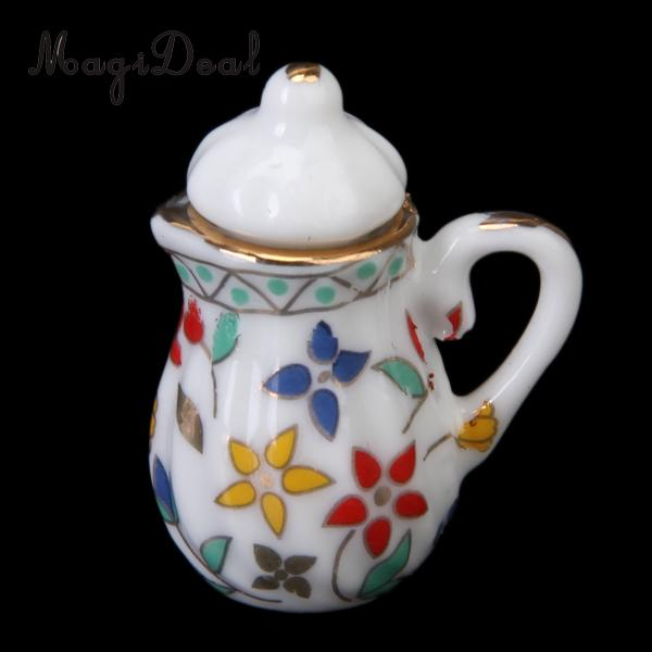 15 Pieces Dollhouse Miniature Dining Ware Porcelain Coffe Tea Set Model