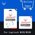 Hotline games originais pés do mouse para logitech m185 m186 4 mouseskate jogos/pacote 0.6mm nível de desempenho com grátis pinça